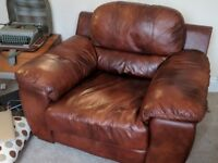 Beautiful Brown Leather Sofa and Matching Armchair