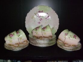 pinkish colour tea set complete no chips good condition bone china over 100 years old