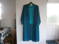 2 piece wedding outfit. Satin blouse with long sheer matching overcoat