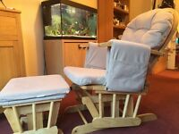 Glider chair and matching rocking footstool (wonderful for cuddling / feeding babies in)