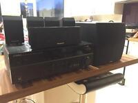 Home cinema Yamaha amplifier with active Yamaha sub, and Panasonic speakers