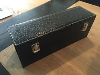 Leather black croc-skin bottle case with toppers