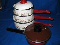 Set of new saucepans