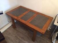 G Plan solid wood and granite extending table/chair