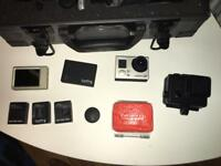 GoPro Hero 3+ Black with Metal Case, 3 Spare Batt, 3 Cases, LCD screen + Many more!