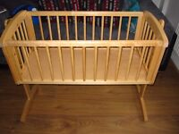 Mothercare Swinging Baby Crib Solid Wood Natural - excellent condition CAN DELIVER