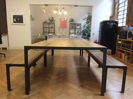 Large, industrial, vintage, wooden table + 4 Benches - boardroom/dining room/ping pong