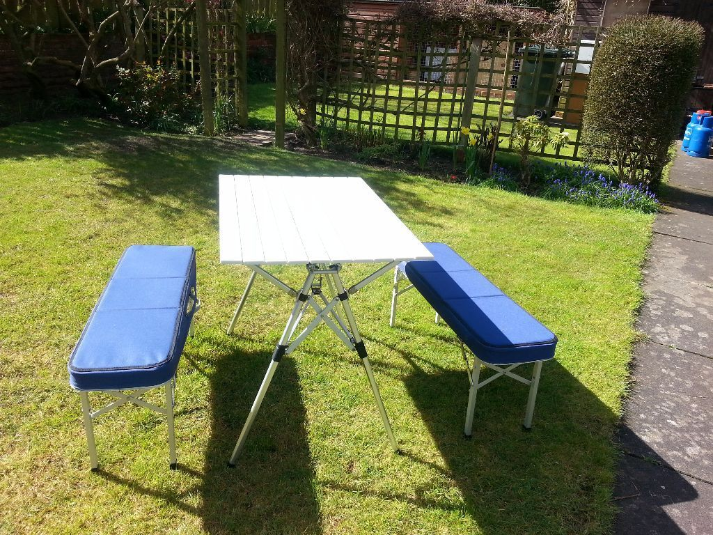 Coleman pack-away table and bench set, seats 4. Excellent condition ...