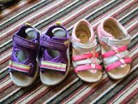 2 pairs Clarke girls sandals. Size 5 F