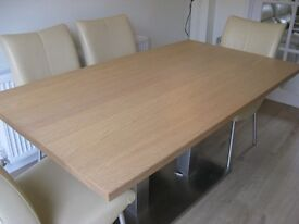 Brand new light wood, modern, veneer Dining table with Pedestal