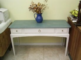 STAG DRESSING TABLE / CONSOLE TABLE PAINTED WHITE AND BLUE