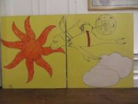 2 cupboard doors - painted with Dr. Seuss character