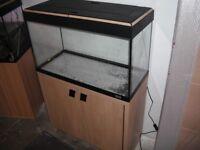FLUVAL ROMA 125 AQUARIUM FISH TANK AND LIGHT OAK CABINET EXCELLENT CONDITION