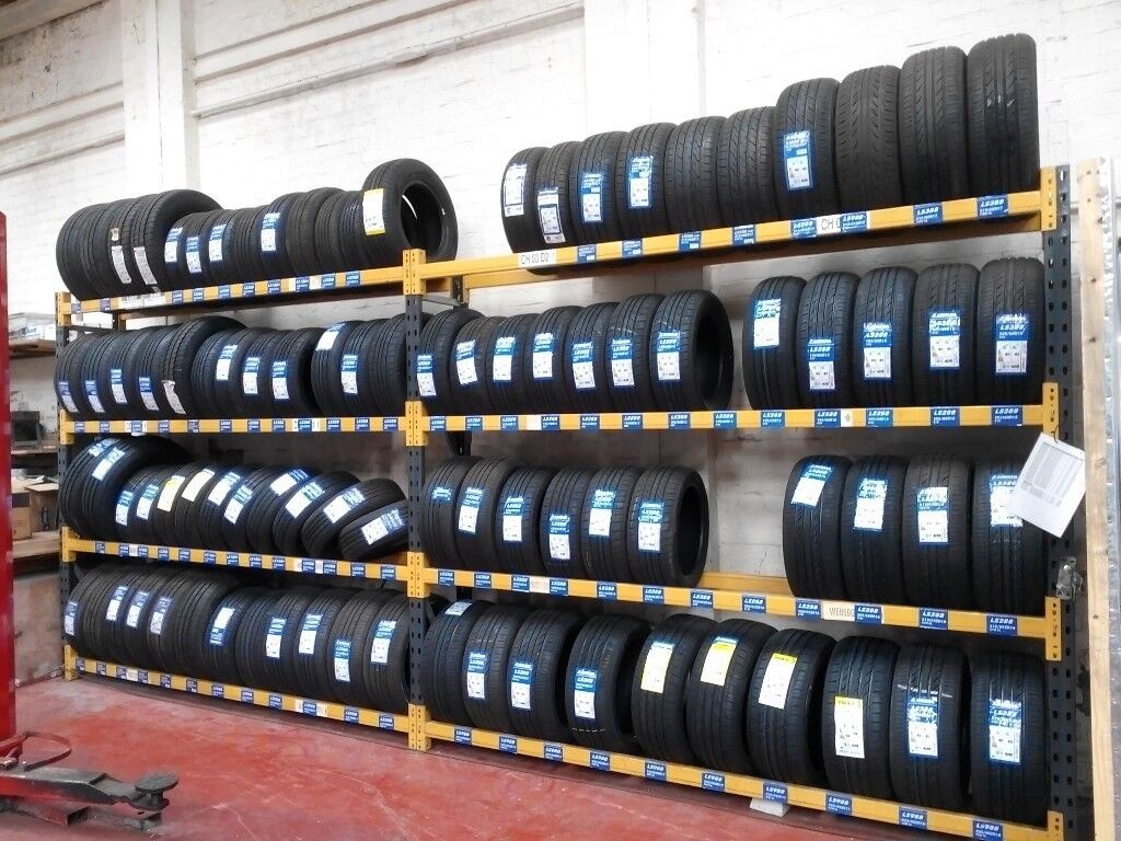 TWIN TYRE STORAGE RACK RACKING. HEAVY DUTY. BRITISH MADE. 565cm LONG x 247cm HIGH. (18ft 6in x 8ft)