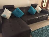 Sofa bed (large) storage and pouffe in brown leather. As new