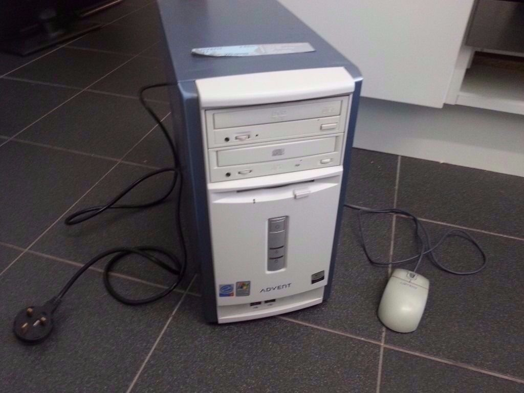 Advent 3111 Pc Tower With Mouse And Power Cable Spares Or Repairs Kabel Komputer Cpu Desktop