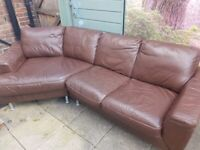 **Real Leather Corner Sofa and Armchair**