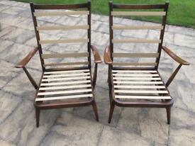 2 Ercol Armchairs with blue label ercol identification