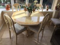 Italian lacquered dining room table and chairs