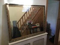 Stunning large gold gilt mirror with bevel edged glass