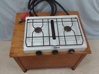 Gas camping stove with 2 rings and grill and gas regulator. Collect from Wargrave.