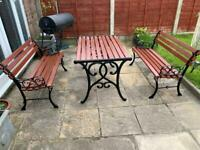 Vintage cast iron and wood table and chairs bench garden furniture
