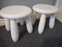Pair of Ikeas Children's Stools - Mammut range - White - VGC