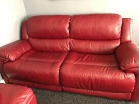 Three and two seaters +pouffe in genuine Italian leather