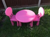 Pink Table and two chairs