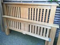 Beautiful solid oak double bed frame, so heavy and substantial with oak slats