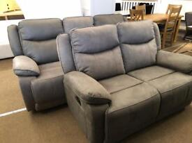 Ex-display** Quality 3+2 grey fabric reclining suite