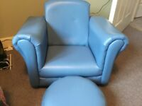 Blue children's chair and footstool