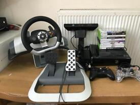Xpox s 250g hard drive & 10 game & 2pad & Xbox driving & kinect all working perfectly