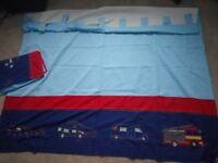 "NEXT boy/nursery fire engine pair of curtains, size 168x183 cm (66""x72"")"