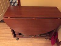 Mahogany folding table and 4 chairs
