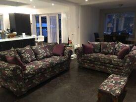 2x Sofas (3seater & 2seater) plus foot stool,grey / purple floral