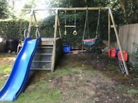 TP wooden climbing frame, swing and slide