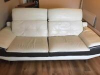 Immaculate - DFS Italian Leather Cream/Slate Sofa, Chair & Footstool