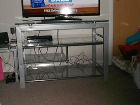 silver gray tv stand