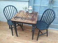 Lovely Solid Oak Small Square Bistro Table & 2 Chairs. Shabby Chic, Chalk Paint. Excellent Finish.