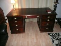 Antique Mahogany Twin Pedestal Desk, Victorian, c1840