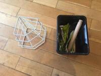 Kitchen Utensils and Plate Rack