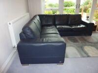 Leather Corner Sofa in Navy Blue