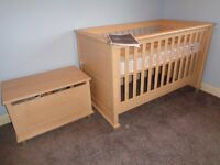 Mamas and Papas Nursery Suite - Cotbed, Wardrobe, Tallboy(Changer), Storage Box (Excellent Condition