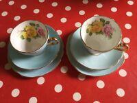 Vintage Clare Harlequin Pale Blue Bone China tea set - 2 x cup, saucer, plate