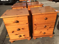 Pair of pine bedsides , 3 drawers in each unit , bun feet .£50 Size L 17in D 15in H 23.5in.