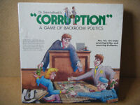 """CORRUPTION"" a game of backroom politics board game 1985. New in sealed box.."