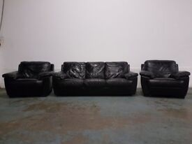 DFS CALIBER BLACK LEATHER LOUNGE SUITE 3 SEATER SOFA SETTEE & 2 ARMCHAIRS CHAIRS DELIVERY AVAILABLE