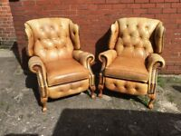 LEATHER CHESTERFIELD QUEEN ANNE WING BACK CHAIRS RECLINING WING BACK CHAIRS VERY RARE CAN DELIVER