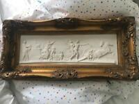 Gold gilt plaster Greek tragedy scene art painting rococo frame